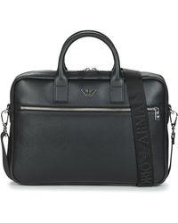 Emporio Armani Briefcase Con Placchetta Aquila - Nero