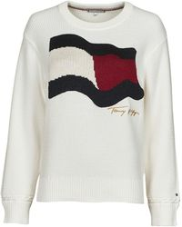 Tommy Hilfiger ORG CO FLAG C-NK SWEATER Pull - Blanc