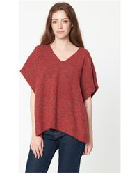 Best Mountain - Poncho chiné col V femmes Pull en rouge - Lyst