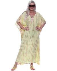 HOT LAVA Poncho Yellow Moonstone Maxi Kaftan Long Dress