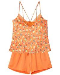 Pommpoire Top+short imprimé orange Nouméa Pyjamas / Chemises de nuit