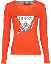 Guess LS VN ICON TEE T-shirt - Rouge