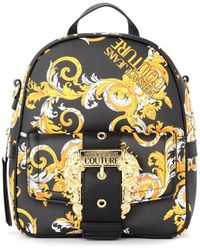 Versace Black Backpack With Baroque Print Backpack - Multicolour