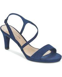 b3d04d7e45 River Island Navy Peep Toe Platform Sandals in Blue - Lyst