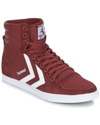 Hummel Hoge Sneakers Stadil Canevas High - Rood