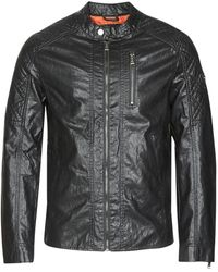 Guess QUILTED ECO LEATHER JACKET - Negro