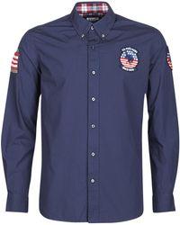 U.S. POLO ASSN. Overhemd Lange Mouw Usa Patch Shirt Bd - Blauw