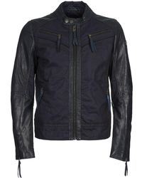 Redskins Drake Men's Leather Jacket In Blue