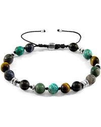 Anchor & Crew Agaya Silver and Stone Beaded Macrame Bracelet Bracelets - Multicolore