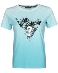 Guess T-Shirt Ss Cn Palms Tee - Blu