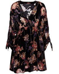 School Rag Robe velour col V imprimé RIDAHO Noir femmes Robe en Noir