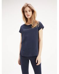 Tommy Hilfiger T-shirt à logo en coton - Bleu