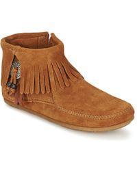 Minnetonka - CONCHO FEATHER SIDE ZIP BOOT femmes Boots en Marron - Lyst