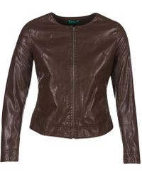 Benetton - Janoura Women's Leather Jacket In Brown - Lyst