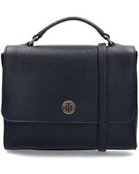 Tommy Hilfiger Honey Flap Satchel Handbags - Blue