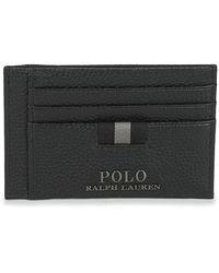 Polo Ralph Lauren Portemonnee Pebble Leather-money Clip-mcl-tml   Black - Zwart
