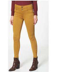 Best Mountain Pantalon slim taille haute femmes Pantalon en jaune - Multicolore