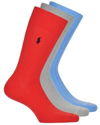 Polo Ralph Lauren Chaussettes 3P SOLID RIB-CREW-3 PACK - Rouge