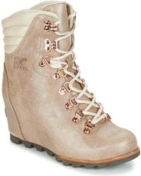 Sorel - Conquest Wedge Holiday Women's Mid Boots In Beige - Lyst