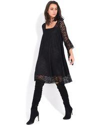 Yours Paris - Flared Dress 3/4 Sleeves Women's Dress In Black - Lyst