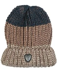 EA7 - Ea7 By Emporio Armani Beanie Hat In Navy Blue Grey And Brown 27 Men's Beanie In Brown - Lyst