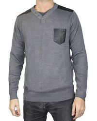 Kebello Pull col V Taille : H Gris M Pull