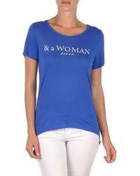 School Rag T-shirt Korte Mouw Temmy Woman - Blauw