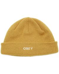 Obey Muts Rollup Beanie - Geel