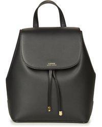 Lauren by Ralph Lauren Flap Backpack Medium Leather Black Crimson - Noir