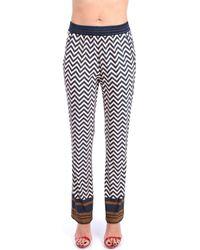 Via Masini 80 P21M694Q Classiques Femme Bleu / tabac Pantalon - Multicolore