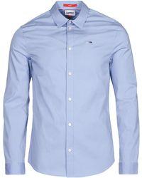 Tommy Hilfiger Camicia A Maniche Lunghe Tjm Original Stretch Shirt - Blu
