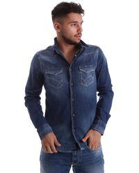 Gas Overhemd Lange Mouw 150767 - Blauw