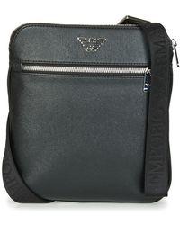 Emporio Armani Bolso BUSINESS FLAT MESSENGER BAG - Negro