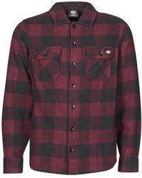 Dickies Camisa manga larga NEW SACRAMENTO SHIRT MAROON - Rojo