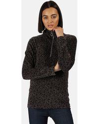 Regatta Leela Lightweight Half Zip Printed Fleece Light Vanilla Black Fleece Jacket