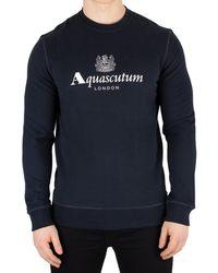 Aquascutum Homme Sweat Henry Crest, Bleu hommes Pull en bleu
