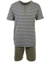 Armor Lux Pyjama short rayé - coton Pyjamas / Chemises de nuit - Vert