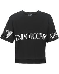 EA7 - Train Shiny W Crop Tee Ss Rn T Shirt - Lyst