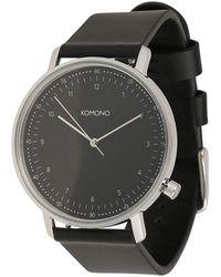 Komono Horloge - Lewis Black Silver - Zwart