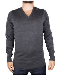 John Smedley - Men's V-neck Knit, Grey Men's Sweater In Grey - Lyst