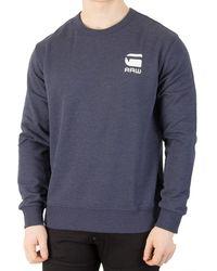 G-Star RAW - Men's Doax Sweatshirt, Blue Men's Jumper In Blue - Lyst