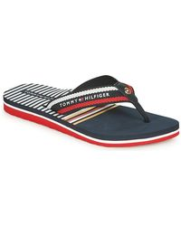 Tommy Hilfiger Teenslippers Stripy Flat Beach Sandal - Blauw