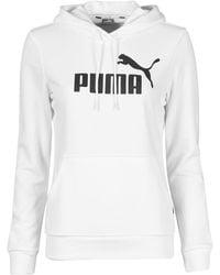 PUMA Felpa Ess Logo Hoody Tr - Bianco