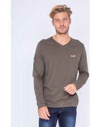 Ritchie T-shirt T-shirt manches longues col V pur coton JARYS - Vert
