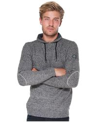 French Denim Pull col crois? maille fantaisie Pull - Gris