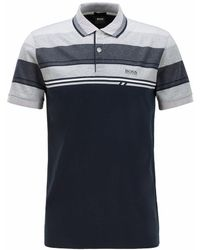 BOSS by Hugo Boss Slim Fit Polo Shirt With Structured Stripes - Blue