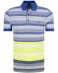c728edc6 BOSS Green Paddy 3 Striped Polo Shirt Grey Blue in Blue for Men - Lyst