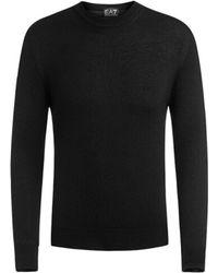 Emporio Armani - 6 Z Long Sleeves Wool Jumper Black - Lyst
