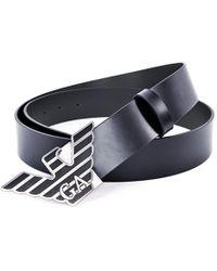 Emporio Armani - X Cintura Acc Leather Belt Blue - Lyst