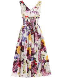 4013c216 Dolce & Gabbana Silk Organza Print Dress in Pink - Lyst